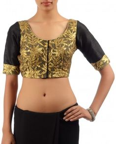 #Exclusivelyin, #IndianEthnicWear, #IndianWear, #Fashion, Black Blouse with Gota Patti