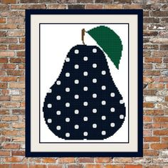 Polka dot Pear  a Counted Cross Stitch by WooHooCrossStitch