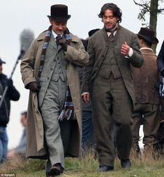 """Jude Law and Robert Downey Jr. during filming of the gypsy camp scene in """"Sherlock Holmes: A Game of Shadows"""" Sherlock Holmes Robert Downey, Sherlock Holmes 3, Robert Downey Jr., Jude Law, Robert Downing Jr, Holmes Movie, Avengers, Dr Watson, Guy Ritchie"""