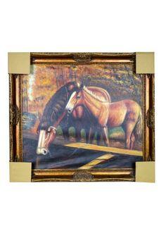 Cuadro con pintura al óleo con imagen de dos caballos. Fabricado en madera bañado en pan de oro envejecido.  Medidas pintura 65 x 75 cm.  Perfecto para completar la decoración de tu salón, recibidor, con un toque de distinción y elegancia. Envío gratis en 24h.