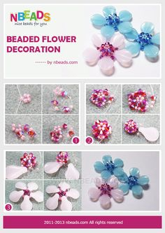 Fresh flower decoration for you! Free beaded flower patterns give you a new flower style; that is a beaded flower heart with five petal shap...