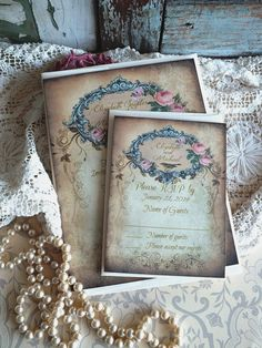 Vintage Wedding Invitation Suite Handmade by by AVintageObsession, $89.95