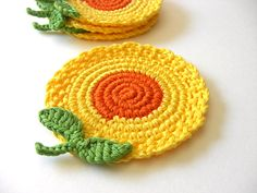 Crochet flower coasters