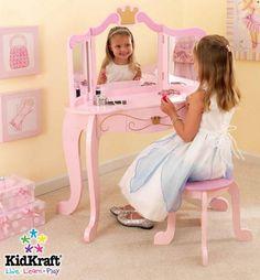 Deluxe White Kids Vanity and Chair Kids Furniture Vanities