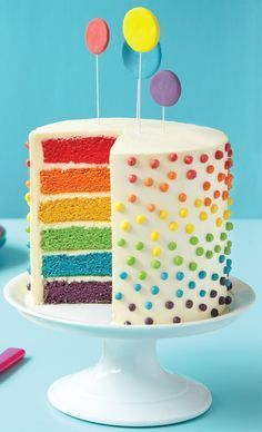 How to Make a Rainbow Layer Cake. I've always wanted to make a pretty cake like this for birthdays, haven't you?? Love it.