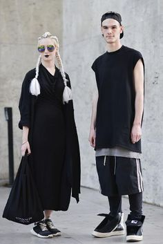 totally ridiculous -Design students Josephine Panel and Charles Berejnoi show off their Rick Owens looks outside the designer's show.  Owens made headlines for his model gone rogue this week.