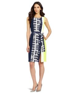 Bcbgmaxazria Women's Easton Print Blocked Sheath Dress, White Combo, Small