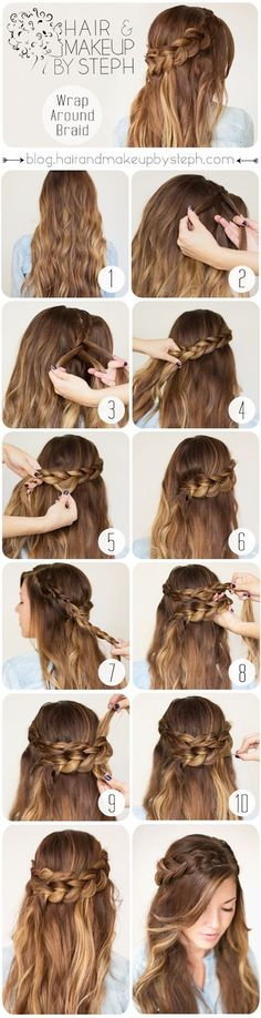 How-to do a wrap-around braid on yourself. Via Hair and Make-up by Steph #braid #hair