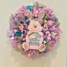 Easter wreath, neutral wreath, Flower Wreath, Blue Wreath, Pink Wreath, Spring Wreath, Ready to Ship