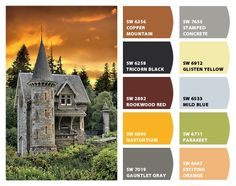 """""""Scotland"""" Color Palette Inspiration for exterior home color scheme, stone accents, and landscape plantings. Chip It! by Sherwin-Williams – Home"""