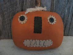 Primitive Halloween Pumpkin Shelf Sitter by annattic1 on Etsy, $10.50