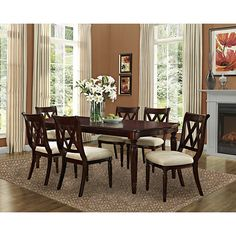 Point South Furnishings Livingston 7 Piece Dining Set   Beige/Brown