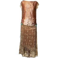 1920 Gold Lame Dress Lace Flapper Great Gatsby Twenties Roaring... ($1,985) ❤ liked on Polyvore