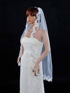 Handmade High Quality Veil With Lace End Color Ivory $39