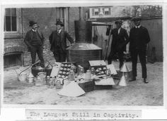 This picture shows a moonshine still from back in the days of prohibition. The still is surrounded by G-Men, who had recently captured the s. Moonshine Still, Old Pictures, Old Photos, Vintage Photos, Vintage Stuff, Franklin County, Oldschool, Appalachian Mountains, Thats The Way