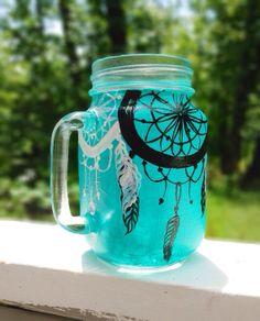 Hand painted dream catcher mason jar mug by ArianaVictoriaRose, $12.00