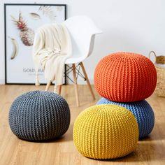 Modern Cotton Hand Knitted Pouf Floor Seating Ottoman Cushion Home Decoration US - Poufs - Ideas of Poufs Pouf Ottoman, Ottoman Decor, Knitted Pouf, Ottoman Footrest, Crochet Pouf, Floor Pouf, Floor Cushions, Pouf Design, Crochet Dolls