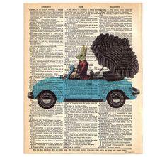 Lady RABBIT Driving VW Beetle Bug Vintage Car Volkswagen ORIGINAL Dictionary Art Print Illustration- Upcycled Antique 1930s Book Page 8x10. $10,00, via Etsy.
