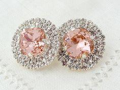 Blush Pink crystal rhinstones stud earrings, Bridal stud earrings, Bridesmaids gift, Estate style jewelry, Swarovski from EldorTinaJewelry. Pink Earrings, Bridal Earrings, Crystal Earrings, Stud Earrings, Blush Pink Bridesmaids, Blush Bridal, Wedding Blush, Bridesmaid Earrings, Bridesmaid Gifts