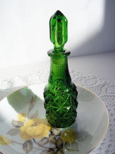 Vintage Perfume Bottle Emerald Green Cut Glass by SPARKLESandSASS