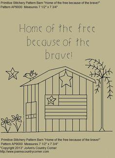 Primitive Stitchery EPattern Country Barn par JoAnnCountryCorner, $2.00