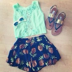 Gorgeous pineapple printed shorts with top mint lace cropped blouse and cute ladies shoes and goggles the best and new summer fresh outfits