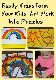 Easily transform kids' art work (or photocopies of art) into puzzles.