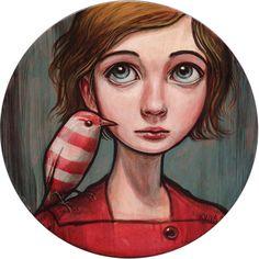"Kelly Vivanco: Peppermint Bird (2009) $400SOLDAcrylic on panel  8 x 8""     20 x 20 cm"