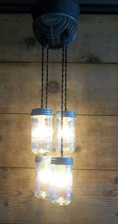 MASON JAR LIGHT Fixture HARLEY DAVIDSON Engine Head 4 Jelly Jar Ceiling  Light #