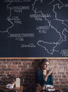 wine regions, blackboard, cafe