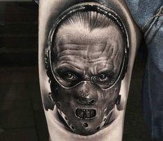 Black and grey realistic tattoo style of Hannibal Lecter motive done by artist Douglas Prudente Tattoo Halloween Tattoo, Clown Tattoo, Chucky Tattoo, Horror Movie Tattoos, Creepy Tattoos, Badass Tattoos, Large Tattoos, Black Tattoos, Design Tattoo