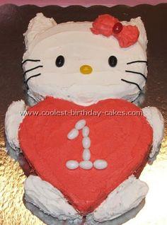 """Hello Kitty Birthday Cake """"hello kitty holding a heart"""""""