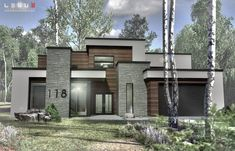Modern home design Bungalow Homes, Bungalow House Plans, Craftsman Style House Plans, Contemporary House Plans, Modern House Plans, Modern House Design, House Paint Exterior, Dream House Exterior, Home Building Design