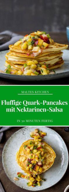 Fluffige Quark-Pancakes mit Nektarinen-Salsa | #Rezept von malteskitchen.de