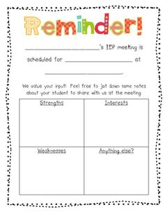 Parent Input and Reminder Form for IEP Meetings