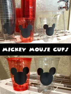 Mickey Mouse Party Cups with a place for each party-goer's name are so fun for a Mickey Mouse Birthday Party and you can make them yourself by using our detailed instructions.  Follow us for more great Mickey Mouse Party Ideas.