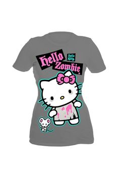 "Hello Kitty Zombie T-Shirt :) ""she's not here"""