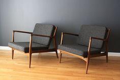 danish modern lounge chairs. teak / gray fabric