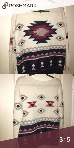 American Eagle Outfitters Sweater Aztec print sweater. Red, blue, white, grey. American Eagle Outfitters Sweaters Crew & Scoop Necks