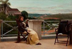 """""""Leitura"""".  (1892). (by Almeida Júnior).  Pinacoteca do Estado de São Paulo."""