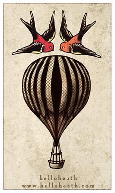 Nautical Balloon Tattoo by *helloheath on deviantART