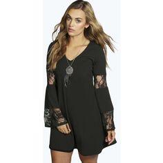 Boohoo Elsa Pu Lasercut Detail Shirt ($18) ❤ liked on Polyvore featuring tops, black, dresses, jersey crop top, basic tee shirts, long sleeve tops, high neck crop top and basic t shirt