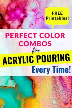 Acrylic Pouring Techniques, Acrylic Pouring Art, Pour Painting, Diy Painting, Painting Tutorials, What Colors Go Together, Paint Chip Wall, Paint Color Schemes, Lino Prints