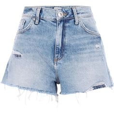 River Island Mid blue distressed high waisted shorts ($64) ❤ liked on Polyvore featuring shorts, blue, denim shorts, women, blue jean shorts, high rise denim shorts, high-waisted jean shorts, blue high waisted shorts and destroyed denim shorts