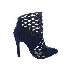 Women's Wild Diva Finn-1 Ankle Boot - Navy/Blue Faux Suede Dress featuring polyvore, fashion, shoes, boots, ankle booties, navy ankle boots, ankle boots, short boots, blue ankle boots and cutout ankle boots