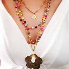 Pearl long  statement necklace of 4 strands, Full color pearls, Gold Plated flower Charm, Gold Filled Wire, Gold plated Chain, Pearls