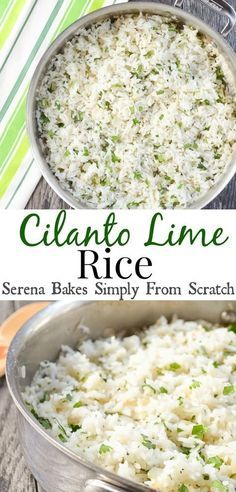 Cilantro Lime Rice a copycat version of the famous Chipotle Restaurant but according to the family even better! www.serenabakessimplyfromscratch.com