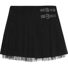 REDValentino Tulle-trimmed pleated stretch-silk mini skirt (1.415 RON) ❤ liked on Polyvore featuring skirts, mini skirts, black, pleated skirts, asymmetrical mini skirt, asymmetrical short skirt, asymmetrical skirt and pleated mini skirt