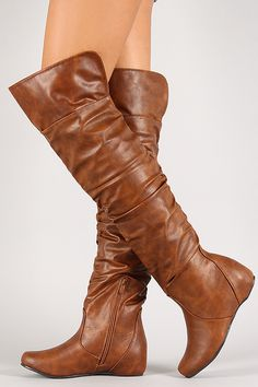Leatherette Slouchy Hidden Wedge Thigh High Boot 168b4ebb11