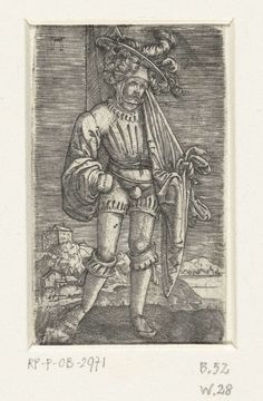 Albrecht Altdorfer   Kleine vaandeldrager, Albrecht Altdorfer, c. 1506 - 1538   Vaandeldragen met vaandel over zijn linkerschouder.